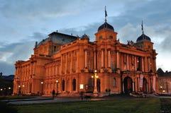 Teatr Narodowy w Zagreb, Chorwacja przy nocą fotografia royalty free