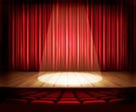 Teatr scena z czerwoną zasłoną, siedzeniami i światłem reflektorów, ilustracji