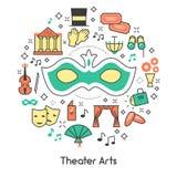 Teatr sztuk Kreskowej sztuki konturu ikony Ustawiać z maską i lornetkami Obrazy Stock