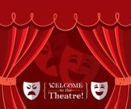 Teatr zasłony z maskami Fotografia Royalty Free