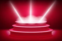 Teatralnie background scene i czerwone zasłony Czerwony podium na tle czerwień drapuje zasłony wektor Fotografia Stock