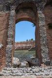Teatro二陶尔米纳,西西里岛,意大利废墟  库存图片