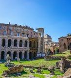 Teatro马尔塞洛和门廓DOttavia废墟在罗马意大利 库存图片