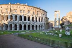Teatro马尔塞洛和门廓d ` Ottavia,罗马,意大利 库存照片
