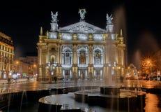 Teatro académico de la ópera y de ballet del estado de Solomiya Krushelnytska en Lviv, Ucrania Foto de archivo