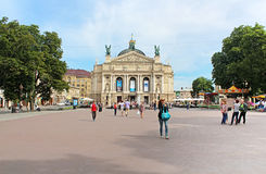 Teatro académico de la ópera y de ballet del estado de Solomiya Krushelnytska, Lviv, Ucrania Fotografía de archivo