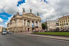 Teatro académico de la ópera y de ballet en Lviv, Ucrania Fotografía de archivo libre de regalías