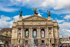 Teatro académico de la ópera y de ballet en Lviv, Ucrania Foto de archivo