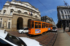 The Teatro alla Scala with orange tram Stock Image