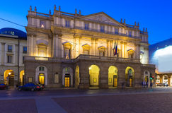 Teatro alla Scala (Theatre La Scala) at night in Milan Royalty Free Stock Photography