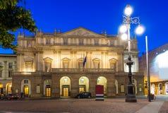 Teatro alla Scala (Theatre La Scala) at night in Milan Stock Photography