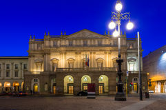 Teatro alla Scala (Theatre La Scala) at night in Milan Stock Photography