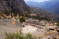 Teatro antico a Delfi, Grecia Fotografie Stock Libere da Diritti