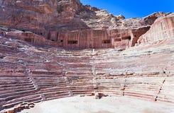 Teatro antico di Nabatean nel PETRA Fotografia Stock Libera da Diritti