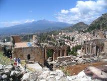 Teatro antigo, taormina, Etna, Fotos de Stock