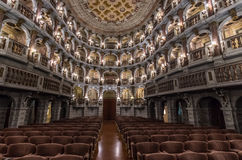 Teatro Bibiena in Mantua. A panoramic internal view of the Teatro Bibiena in Mantua where Mozart played at the age of 14 Stock Photos