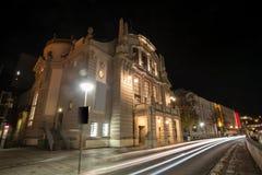 Teatro bielefeld Alemanha na noite Fotos de Stock Royalty Free