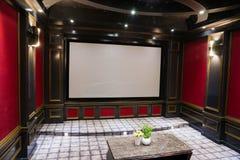 Teatro casero de lujo fotografía de archivo