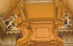 Teatro Colon. Angel statues, ornate and decorated roof and columns inside the Teatro Colon in Buenos Aires Stock Photography
