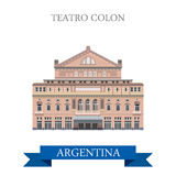 Teatro Colon Buenos Aires Argentina vector flat landmarks Royalty Free Stock Images