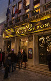 Teatro Comunale Carlo Goldoni. Venice,Italy- February 18, 2012: Evening image of the entrance to the Carlo Goldoni Theatre in Venice Italy.The theatre was named Royalty Free Stock Photography