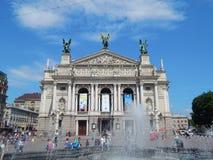 Teatro da ópera de Lviv foto de stock
