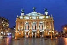 Teatro da ópera de Lviv Imagem de Stock Royalty Free