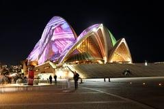 Teatro da ópera de Sydney em Noite Foto de Stock Royalty Free