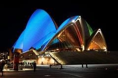 Teatro da ópera de Sydney em Noite Foto de Stock