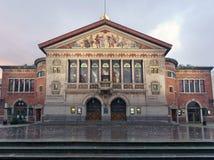 Teatro de Aarhus - Bispetorvet cuadrado en el amanecer dinamarca Foto de archivo libre de regalías