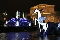 Teatro de Bolshoy en Año Nuevo por la noche Moscú Imagenes de archivo