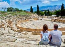 Teatro de Dionysus en la acrópolis de Atenas Región de la Atica, Grecia imagen de archivo