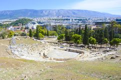Teatro de Dionysus en la colina de la acrópolis, Atenas, Grecia imagen de archivo