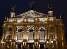 Teatro de la ópera de Lviv por la tarde foto de archivo