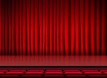 Teatro de la etapa del auditorio con las cortinas y los asientos rojos libre illustration