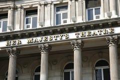 Teatro de Londres, su teatro de la majestad Imagenes de archivo