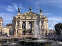 Teatro de Lviv de Opera e da construção do bailado fotografia de stock royalty free