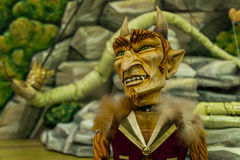 Teatro de madera de la marioneta del diablo imagen de archivo libre de regalías