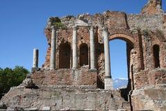 Teatro de Taormina, Italia Imagen de archivo