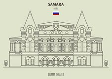 Teatro del drama en el Samara, Rusia Icono de la se?al libre illustration