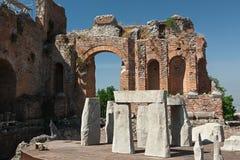 Teatro del greco antico di Taormina, Sicilia, Italia Fotografie Stock Libere da Diritti