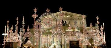Teatro del teatro de Bolshoi (grande, grande o magnífico, Bolshoy también deletreado) iluminó a la Navidad en la noche Moscú, Rus Fotos de archivo
