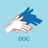 Teatro dell'ombra Il gesto di mani gradisce il cane Illustrazione di vettore del burattino di mano dell'ombra Immagine Stock