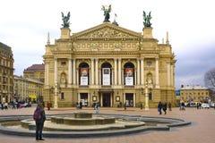Teatro dell'opera di Leopoli, quadrato del teatro, Leopoli, Ucraina Immagini Stock Libere da Diritti