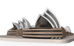 Teatro dell'opera di Sydney isolato su fondo bianco Fotografie Stock Libere da Diritti