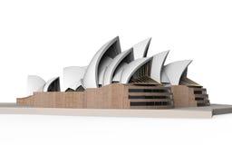 Teatro dell'opera di Sydney isolato su fondo bianco Fotografia Stock Libera da Diritti