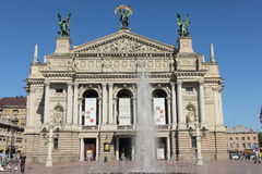 Teatro dell'opera e del balletto Leopoli Fotografia Stock Libera da Diritti