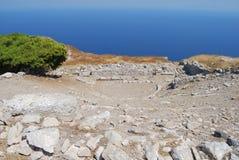 Teatro della città antica di Thira Santorini Fotografia Stock