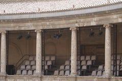 teatro detalles del palacio de Charles V, Alhambra, Granada, España Imágenes de archivo libres de regalías