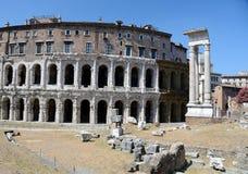 Teatro di Marcello, Rome. Ancient romanic ruins of the old Teatro Marcello, near Colosseum in the center of Rome Stock Photos